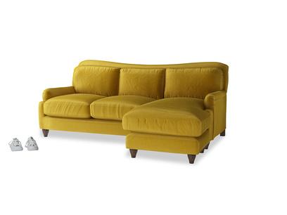 Large right hand Pavlova Chaise Sofa in Burnt yellow vintage velvet