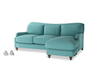 Large right hand Pavlova Chaise Sofa in Peacock brushed cotton