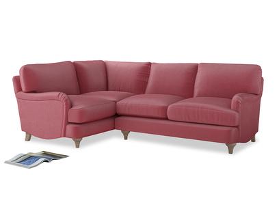 Large Left Hand Jonesy Corner Sofa in Blushed pink vintage velvet