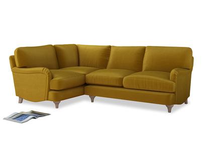 Large Left Hand Jonesy Corner Sofa in Burnt yellow vintage velvet