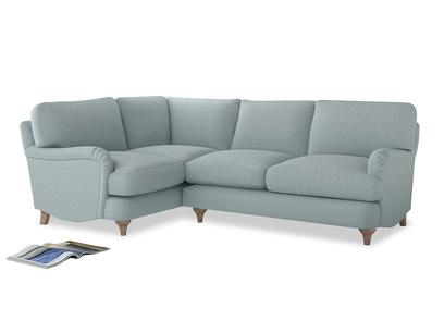 Large Left Hand Jonesy Corner Sofa in Duck Egg vintage linen