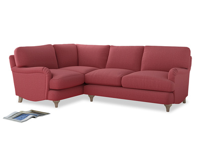 Large Left Hand Jonesy Corner Sofa in Raspberry brushed cotton