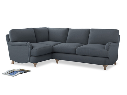 Large Left Hand Jonesy Corner Sofa in Blue Storm washed cotton linen