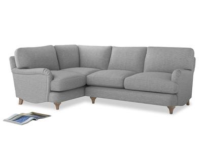 Large Left Hand Jonesy Corner Sofa in Mist cotton mix