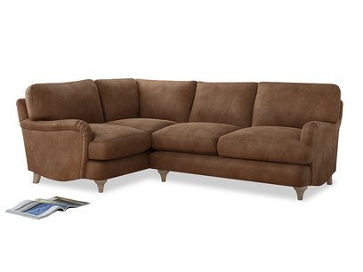 Large Left Hand Jonesy Corner Sofa in Walnut beaten leather
