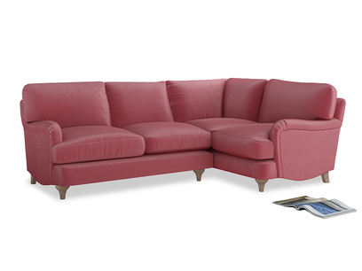 Large Right Hand Jonesy Corner Sofa in Blushed pink vintage velvet