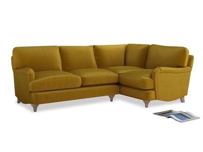 Large Right Hand Jonesy Corner Sofa in Burnt yellow vintage velvet