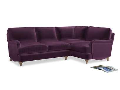 Large Right Hand Jonesy Corner Sofa in Grape clever velvet