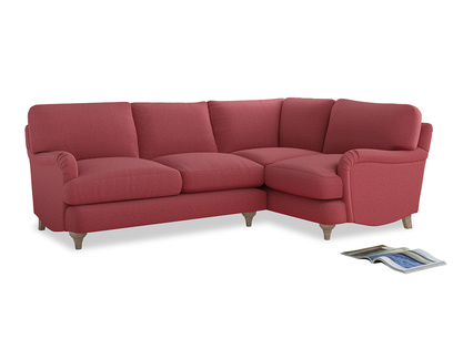 Large Right Hand Jonesy Corner Sofa in Raspberry brushed cotton