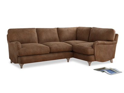 Large Right Hand Jonesy Corner Sofa in Walnut beaten leather