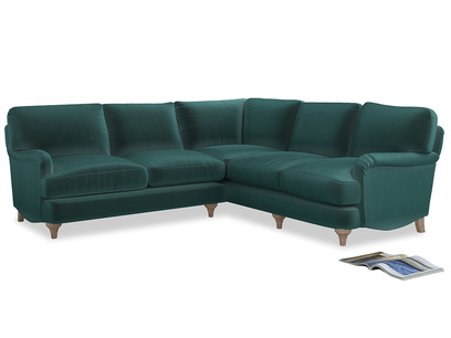 Even Sided Jonesy Corner Sofa in Real Teal clever velvet
