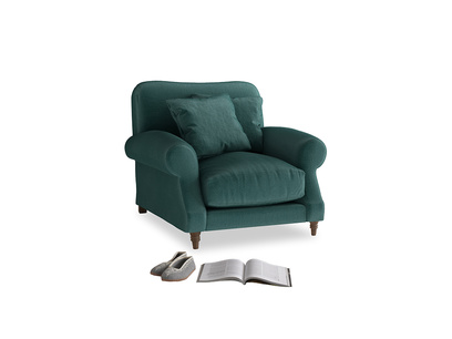 Crumpet Armchair in Timeless teal vintage velvet