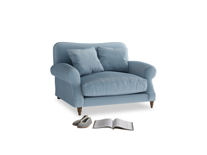 Crumpet Love seat in Chalky blue vintage velvet