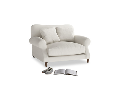 Crumpet Love seat in Oyster white clever linen