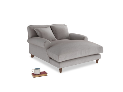 Crumpet Love Seat Chaise in Soothing grey vintage velvet