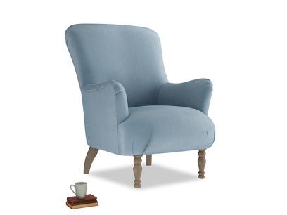 Gramps Armchair in Chalky blue vintage velvet