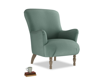 Gramps Armchair in Sea blue vintage velvet