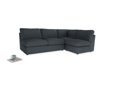 Large right hand Chatnap modular corner sofa bed in Lava grey clever linen