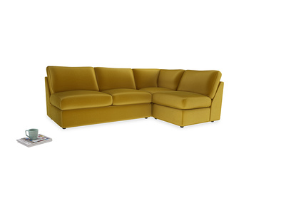 Large right hand Chatnap modular corner storage sofa in Burnt yellow vintage velvet