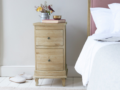 Bastille bedside table in weathered oak