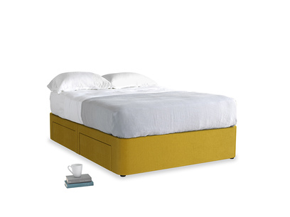 Double Tight Space Storage Bed in Burnt yellow vintage velvet