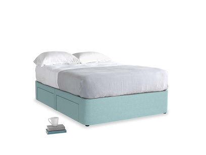 Double Tight Space Storage Bed in Adriatic washed cotton linen