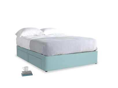 Kingsize Tight Space Storage Bed in Adriatic washed cotton linen