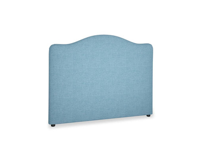 Double Luna Headboard in Moroccan blue clever woolly fabric