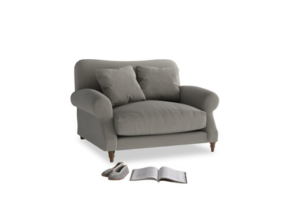 Crumpet Love seat in Monsoon grey clever cotton