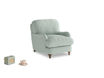 Jonesy Armchair in Sea surf clever cotton