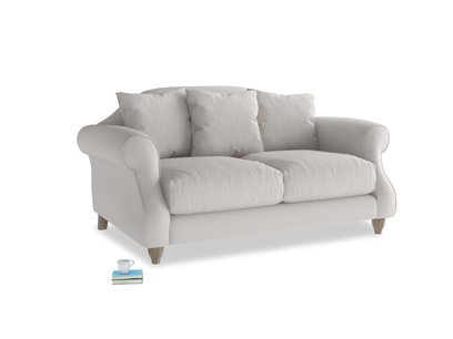 Small Sloucher Sofa in Lunar Grey washed cotton linen