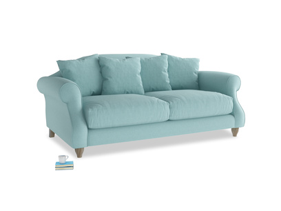 Medium Sloucher Sofa in Adriatic washed cotton linen