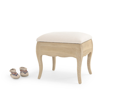 Louise oak dressing table stool with upholstered seat cushion
