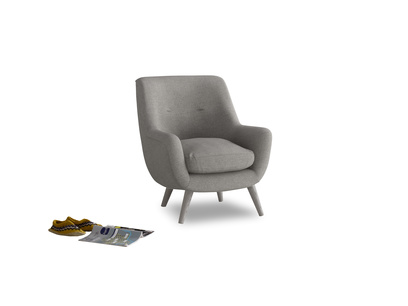 Berlin Armchair in Marl grey clever woolly fabric