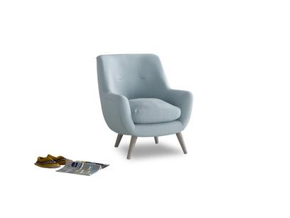 Berlin Armchair in Soothing blue washed cotton linen