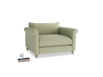 Weekender Love seat in Old sage washed cotton linen