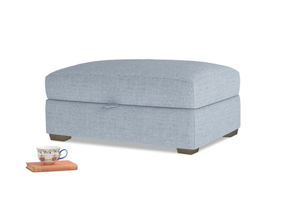 Bumper Storage Footstool in Frost clever woolly fabric