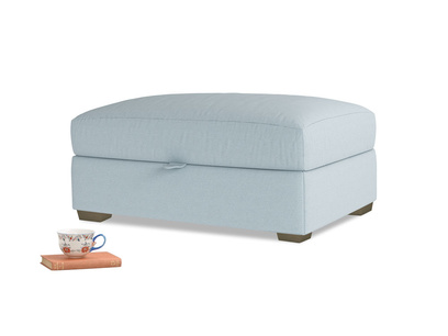 Bumper Storage Footstool in Soothing blue washed cotton linen