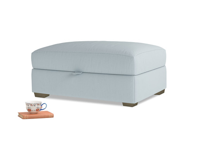 Bumper Storage Footstool in Scandi blue clever cotton