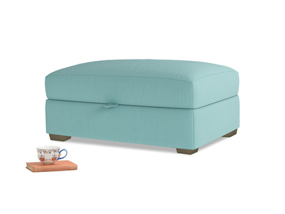 Bumper Storage Footstool in Kingfisher clever cotton