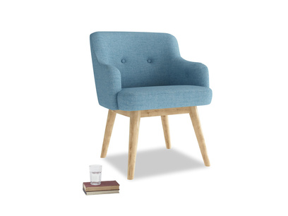 Smudge Armchair in Moroccan blue clever woolly fabric