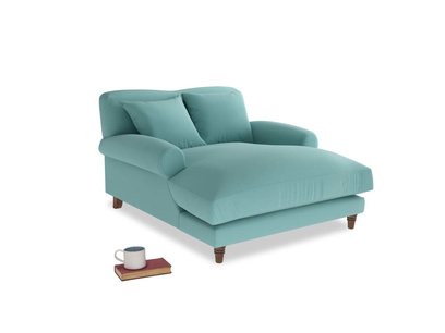 Crumpet Love Seat Chaise in Kingfisher clever cotton