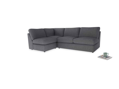 Large left hand Chatnap modular corner storage sofa in Strong grey clever woolly fabric