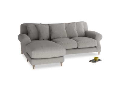 Large left hand Crumpet Chaise Sofa in Marl grey clever woolly fabric
