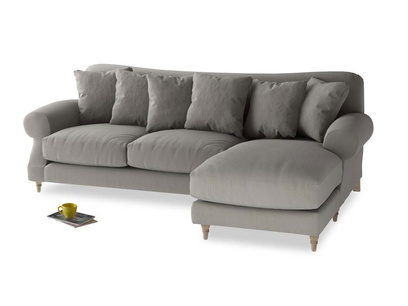 XL Right Hand  Crumpet Chaise Sofa in Monsoon grey clever cotton
