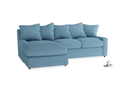 Large left hand Cloud Chaise Sofa in Moroccan blue clever woolly fabric