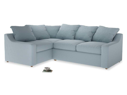 Large Left Hand Cloud Corner Sofa in Soothing blue washed cotton linen