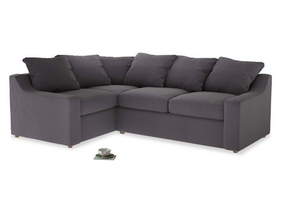 Large Left Hand Cloud Corner Sofa in Graphite grey clever cotton