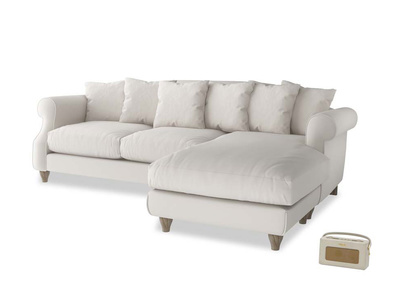 XL Right Hand  Sloucher Chaise Sofa in Chalk clever cotton