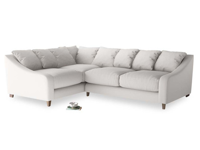 Large Left Hand Oscar Corner Sofa  in Lunar Grey washed cotton linen